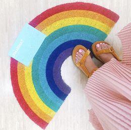 Wholesale door carpets - Wholesale 1 PCS New Cute 41*75cm Colorful Rainbow Arch Non-slip Polyester Door Mat Floor Carpet Home Decor