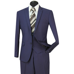 Wholesale Summer Dresses For Men - STOCK IN USA 2018 Tuxedos Suits Men Wedding Suit Slim Fit Business Groom Suit Set Dress Suits Tuxedo For Men (Jacket+Pants+Vest) ST005