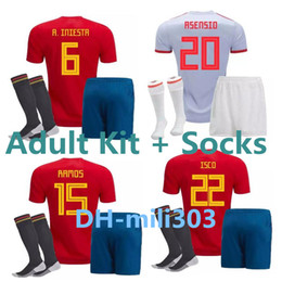 Wholesale spain national team - 2018 2019 Spain world cup soccer jersey kit PIQUE MORATA 18 19 national team Away ASENSIO ISCO adult shirt uniforms camiseta de futbol kits