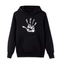 Wholesale Black Zombie - Spring Winter Men Cotton Pullover Sweatshirt Novelty Design Skull Eye Fingers Zombie Hand Hoodies Fleece Hooded Streetwear