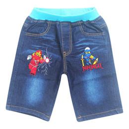 Nuevos jeans patrón chicos online-¡Gran venta! 2017 Nuevos Niños Jeans Cintura Elástica Oso Recto Patrón Denim Pantalones Medio Retail Boy Thomas Jeans Para 4-10 Años