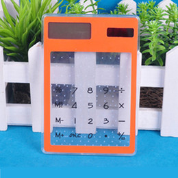 Wholesale World Time Alarm Clock - Factory supply transparent touch screen solar calculator silicone card calculator