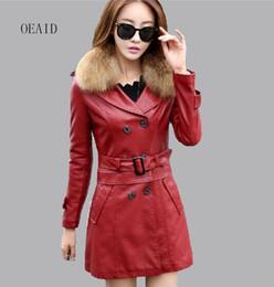 Wholesale Raccoon Leather Fur Coat - Wholesale- Plus Size 3XL 4XL Raccoon Fur Collar Leather Jacket Women Leather Coat Long 2017 spring Winter Slim Ladies Jackets Coats Black