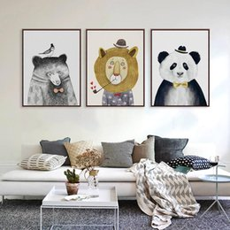 Wholesale triptych painting abstract - Triptych Watercolor Paintings Nordic Lion Bear Panda Minimalist Hipster Wall Art Picture Canvas Painting Living Room Home Decor