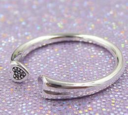 encanto de dos corazones Rebajas 2018 Nuevo 100% 925 Sterling Silver European Pandora Jewelry Two Hearts Ring Anillo de la manera del encanto para las mujeres