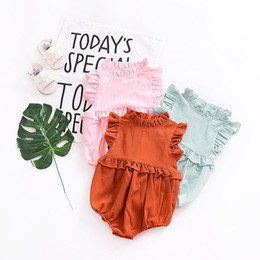 Wholesale summer infant sale - Baby Solid Color Rompers Cotton Summer Kids Boutique Clothing Euro America INS Hot Sale Infant Toddlers Ruffle Sleeves Rompers
