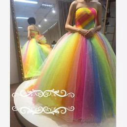 Wholesale Rainbow Art - Rainbow Organza Crystal Prom Dresses Strapless Backless Flower Ball Gown Evening Gowns Floor Length Plus Size Formal Dress