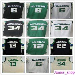 Wholesale New Middleton - 2018 New Cheap 34 Giannis Antetokounmpo Jerseys White Green Black 22 Middleton 6 Eric Bledsoe 13 Malcolm Brogdon 12 Jabari Parker Jersey