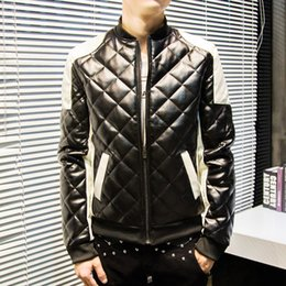 Wholesale Trend Fashion Jacket Korean - Wholesale- 2016 spring new Korean version of the trend of men's fashion spell color stitching Lingge PU leather washed leather jacket lapel