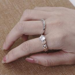 Wholesale Wholesale Swarovski Crystal Jewelry Sets - Vintage New Set of 2 Silver Dainty Stacking Rings Swarovski Wedding Crystal Ring Stackable Rings Boho Ring Minimalist Jewelry