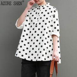 Wholesale white peter pan blouse - [AZURE SHEN] New Summer Spring 2018 white blouse peter pan collar long sleeve polka dot printed loose shirt women QC774