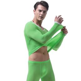 Wholesale Translucent Men Underwear - Men's Warm Underwear Ultra Thin Ice Silk High Elastic Man Autumn Translucent Bottom Long Johns Shirts (not Include Pants)