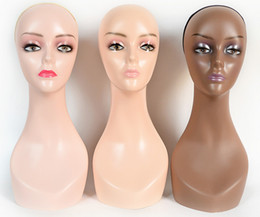 Wholesale Foam Mannequins - Free Shipping Top quality Female Different Skins Wigs display Mannequin Head with makeup mainkin Model head