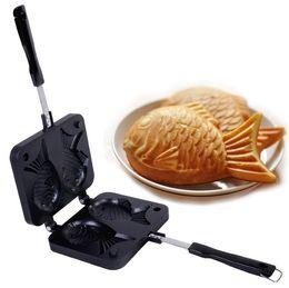 Wholesale Waffle Plates - free shipping 2 fish holes Japanese Fish Cake Waffle Taiyaki Mold Plate Pan Iron baking mold DIY biscuit cake mold LLFA