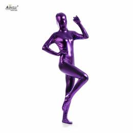 2019 zentai púrpura Ainclu Fullbody Purple Pegamento Zentai metálico para Hallween Shiny Spandex Lycra Spandex Body de manga larga para mujer Sexy Zentai zentai púrpura baratos
