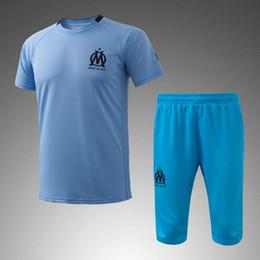 Wholesale Sports Leisure Suits - Marseille soccer tracksuit 16 17 short sleeve training football kits men's leisure sports training suits adult's outdoor soccer set uniform
