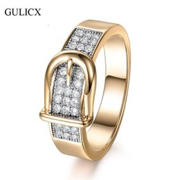 Wholesale Channel Belts - Wholesale-GULICX Shining Belt Rings for Women Tiny CZ Paved Cubic Zirconia Stone Accessories Wedding Jewelry Birthday Gift
