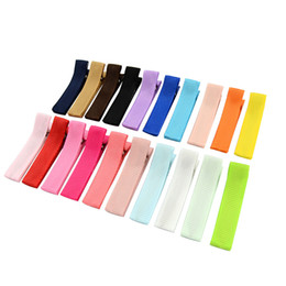 Wholesale cute kid hair claw clips - 20pcs Small Cute Solid Hairclip Whole Wrapped Safety beautiful Hair Clips Kids Hairpins Hair Accessory HD648