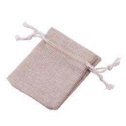 Wholesale Gunny Bags - 100Pcs 7*9cm Linen Drawstring Pouch Jewelry Bag,Christmas Wedding Gift Gunny Bag