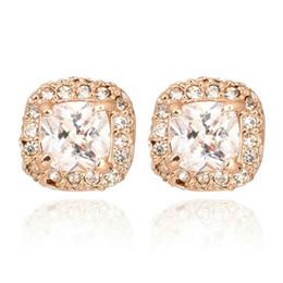 Aretes de platino online-estilo de lujo superior de la joyería de Europa y América tacos cuadrados pendientes micro zircones la moda rosa chapado en oro platino