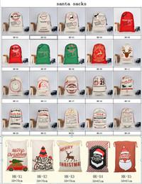 2019 Nouvel An Fête De Noël Cadeau Sacs Grand Coton Sac 50 * 70 cm Taille Beige Monogrammable Santa Claus Sacs Sac Cadeau Avec des rennes ? partir de fabricateur