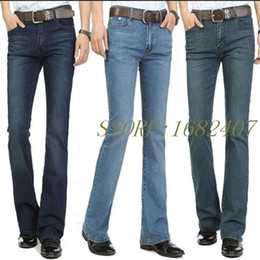 Wholesale Regular Boot - Free Shipping Men's Business Casual Jeans Male Mid Waist Elastic Slim Boot Cut Semi-flared Four Seasons Bell Bottom Jeans 26-36