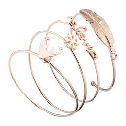 Wholesale Open Combination - Combination bracelets set European and American character love cute antlers feather shape alloy opening bracelet women Free DHL G345Q