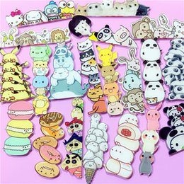 Wholesale Panda Pins - 30PCS lot Kawaii Icecream Pig Panda Cat Stacked book Donuts Chicken Badge Harajuku Acrylic Badges Backpack Pins Icons Cartoon Badge Brooch