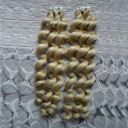 2019 12 расширений для утка кожи 40шт Remy Skin Weft Tape в наращивании человеческих волос Loose Wave Double Drawn Tape Hair Extensions Человеческий клей на волосах скидка 12 расширений для утка кожи