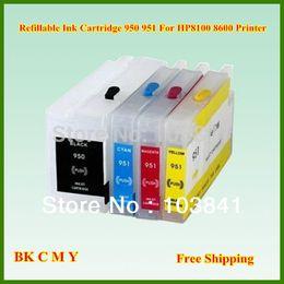Cartucho vazio hp on-line-Recarga vazia 950xl 951xl 950 951 BK C M Y Cartucho de tinta recarregável com chip mostra o nível de tinta para a impressora Officepro 8100 8600