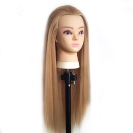 Wholesale Hairdressing Heads - Professional 65cm hairdressing dolls head Female Mannequin Hairdressing Styling Training Head Nice high quality Mannequin Head
