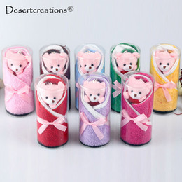 Wholesale Christmas Cake Towel Gift - 1PC Creative Lovely Mini Bear Cup Cake Towel Cotton Hand Towel Face Wedding Christmas Birthday Party Gifts Random Color