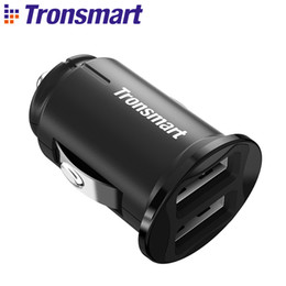 Wholesale Two Usb Port Car Charger - Tronsmart C24 Two Ports USB Car Charger VoltiQ Car-charger Phone Fast Charger USB Adapter Short Circuit Protection CE FCC RoHS