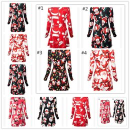 Wholesale Ladies Flannel - New Sweater Dress Women print Christmas Pullovers Long Sleeve Fashion Winter Casual Tees Lady A Line Jumper Mini Dress hoodies Top Clothing