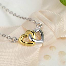 2019 encanto de la pulsera del arco del rhinestone Real 925 plata esterlina color oro unido en el amor del corazón collares pendientes para dama regalo original de la joyería CRN011