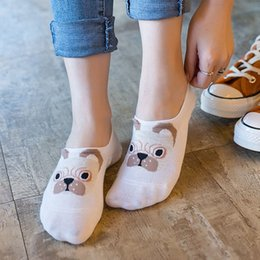 Wholesale Crew Cuts Girls - 1 Pair Spring Summer New Fashion Women Girls Cute Lovely Dog Ankle Socks Low Cut Crew Casual Color Soft Breathable Cotton Socks