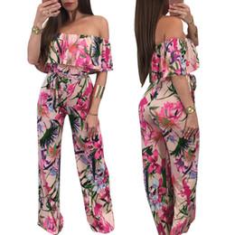 d2fc41169a9b Slash Neck Floral Print Ruffle Wide Leg Coverall Women Plus Size Off  Shoulder Long Pant Sashes Jumpsuit 2XL Macacao Feminino
