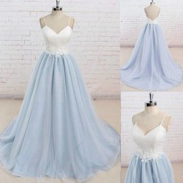 Wholesale Summer Dresse - prom dresse prom dress Hand Made Flowers mermaid prom dresses A-Line Sweetheart Backless Sweep-Train Light Sky Blue Satin Tulle