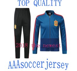 Wholesale Ankle Length Men S Coat - 18 19 Spain Blue Soccer Tracksuit Adult Thai Quality Full Sleeve football Jacket And trousers 2018 Espana Training Suits Winter Soccer Coats