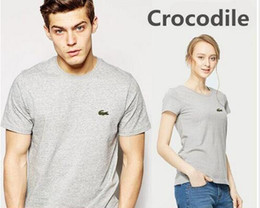 Wholesale quality tees - Casual t shirt brand men Crocodile Embroidery tops funny Short sleeve t-shirt men 100% Cotton tee shirt mens t shirts fashion High Quality