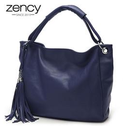 Wholesale Brown Italian Leather Handbag - Fashion Colors 100% Italian Soft Genuine Leather Tassel Women's Handbag Ladies Shoulder Bags Messenger Satchel Crossbody