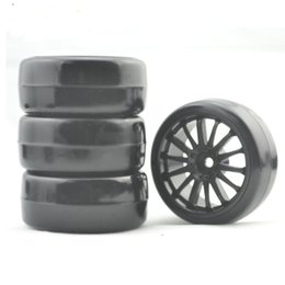 Wholesale Rc Car Rims Drift - 1 10 RC Crawler accessories 4PCS Plastic Wheel Rim and Rubber Tires Set for 1:10 RC On Road drifting car tyre