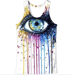 Wholesale galaxy tanks - Wholesale Free Shipping Fashion Clothing Men Galaxy Big Eye 3d Digital Printing Vest Tank Top Plus Size 6XL