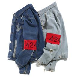 Wholesale Top Brand Denim Jackets Men - 2018 Four two four fairfa 424 for women fashion brand jean jacket denim cowboy top hop Harajuku holes men of high quality homme