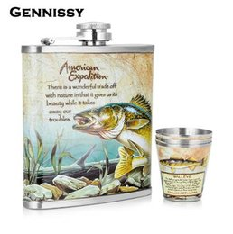 Wholesale underwater world print - GENNISSY Outdoor Sports Portable Whiskey Flask Set New Underwater World Printed Stainless Steel Mini Hip Flask 7oz Hip Sets Gift