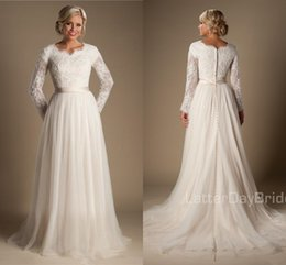 Wholesale Long White Dress Scalloped Neck - 2018 A-line Beaded Lace Tulle Modest Wedding Dresses With Long Sleeves Scalloped Neck Buttons Up Back Full Sleeves Long country Bridal Gowns