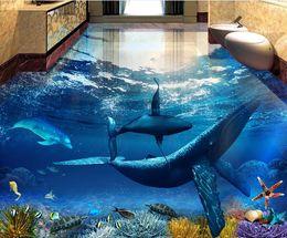revêtements muraux adhésifs Beaux dauphins baleines Underwater World 3D salle de bain salle de séjour étage ? partir de fabricateur