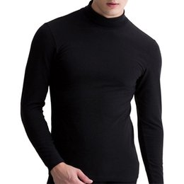Wholesale Turtleneck Tee Shirts - Turtleneck Thin Warm T Shirt Men Solid Long Sleeve Pullovers Men Casual T-shirt Bottoming Hombre Cheap Winter Autumn Tops tees