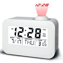 Contre-jour activé par la voix temps réveil réveil horloge de projection calendrier perpétuel horloge LED horloge répétitive ? partir de fabricateur
