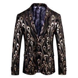Uomini di velluto nero velluto online-Luxury Gold Black Velvet Blazer Hombre Barocco Fancy Prom Wedding Slim Fit Blazer Masculino Plus Size 5xl Giacca da uomo